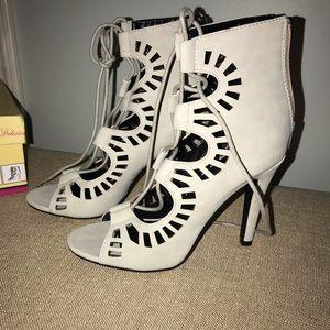 NIB grey lace up bootie heals - size 8